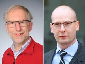 v.l. Prof. Dr. Hinrich Abken, Dr. Marco Herling, Foto l. Uniklinik Köln, Foto r. Ellen Bornkessel, Portraitfotografie für Unternehmen