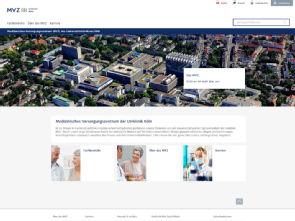 Neue responsive Website des Medizinischen Versorgungszentrums (MVZ) der Uniklinik Köln