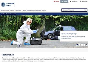 Die neue Website der Rechtsmedizin - optimiert für mobile Endgeräte, Foto: Uniklinik Köln