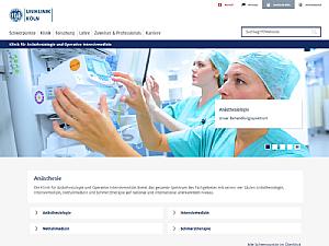Die neue Website der Anästhesiologie, Foto: Uniklinik Köln