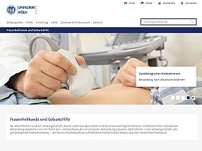 Die Website der Frauenklinik in neuer Optik, Foto: Uniklinik Köln