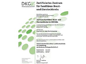 DKG-Zertifikat für das Zentrum Familiärer Brust- und Eierstockkrebs, Quelle: DKG